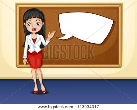 Businesswoman presenting in the room illustration