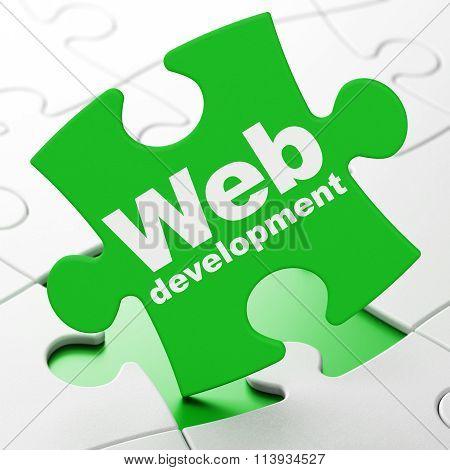 Web design concept: Web Development on puzzle background