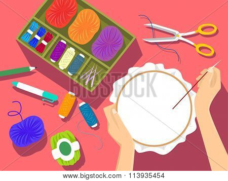 Illustration of an Embroidery Kit Lying Next to a Woman Embroidering a Pattern
