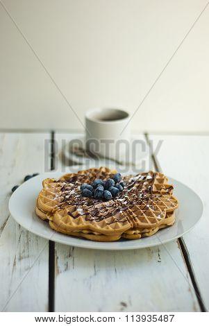 Waffles with fresh honeysuckle