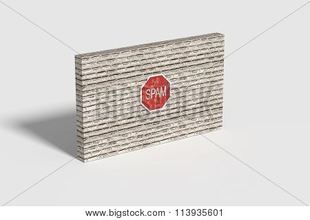 Red Spam Traffic Sign On Brick Three-dimensional Wall