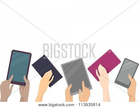 Cropped Illustration of Hands Raising Computer Tablets