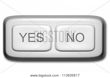 Close-up Of Yes And No White Buttons