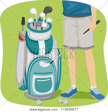 Cropped Illustration of a Man Standing Beside a Golf Bag