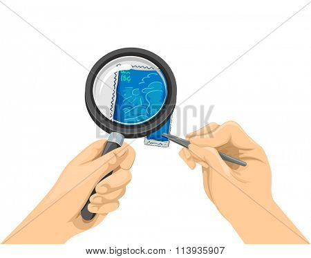 Illustration of a Stamp Collector Using a Magnifying Glass to View a Stamp