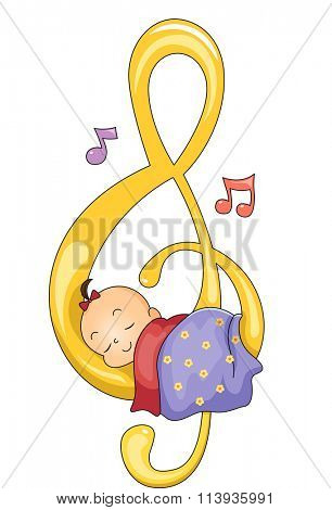 Illustration of a Baby Girl Sleeping Peacefully on a G-clef