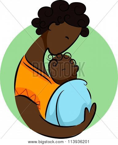 Illustration of an African Mom Cradling Her Newborn Child