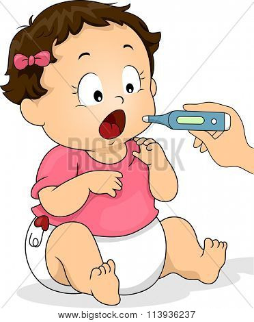 Illustration of a Baby Opening Her Mouth for the Thermometer
