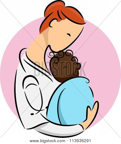 Illustration of a Pediatrician Cradling a Newborn African Child
