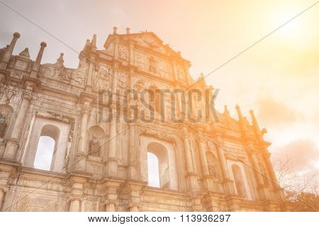 Ruins of St. Paul's, the famous landmark in Macau with color.