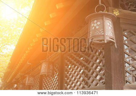 Japanese style lantern at Osaka Tenmangu, Osaka, Japan, Asia.