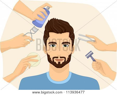 Illustration of a Metrosexual Man Being Groomed