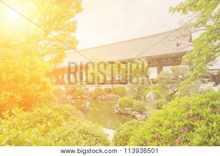 Architecture of Sanjusangendo which is famous for its 1001 statues of Kannon, the goddess of mercy in Kyoto, Japan.