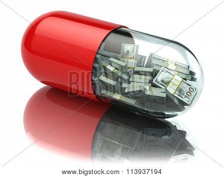 Dollar packs in the capsule, pill. Healthcare costs or financial aid concept. 3d