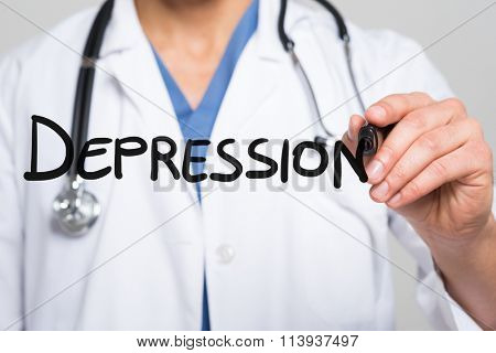 Doctor writing the word Depression