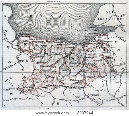 Map of Department of Calvados, vintage engraved illustration. Dictionary of words and things - Larive and Fleury - 1895.