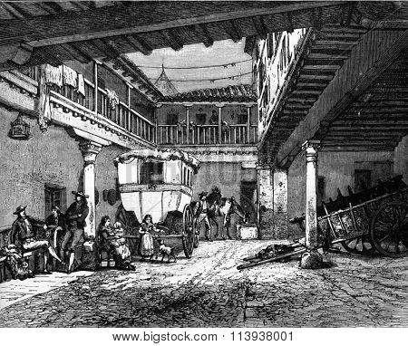 The Auberge de la Sangre, in Toledo, vintage engraved illustration. Magasin Pittoresque 1880.