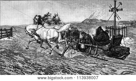 A peasant sleigh in Ukraine, painting by Joseph Chelmonski, vintage engraved illustration. Magasin Pittoresque 1880.
