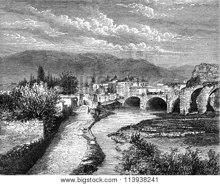 Pergamum, Asia Minor, Double tunnel which is supposed to be the period attalique two centuries before Christ, vintage engraved illustration. Magasin Pittoresque 1880.