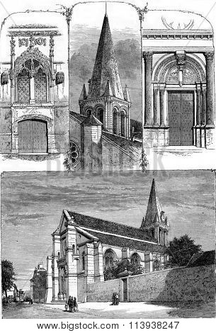 Church of Sarcelles, Seine et Oise, Fleche, small and large gate, vintage engraved illustration. Magasin Pittoresque 1880.