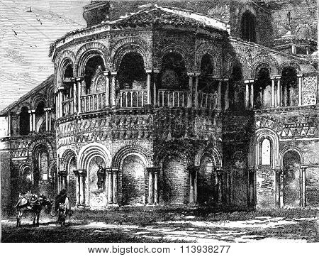 Exterior of the apse of San Donato, in the island of Murano, vintage engraved illustration. Magasin Pittoresque 1880.