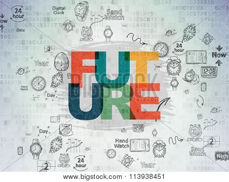 Time concept: Future on Digital Paper background