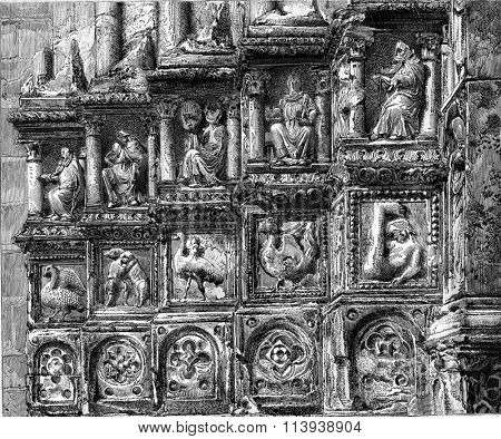 Fragment of bas-reliefs of the portal Sens Cathedral, vintage engraved illustration. Magasin Pittoresque 1880.