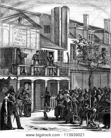 Parade on the Boulevard du Temple to 1816, vintage engraved illustration. Magasin Pittoresque 1878.