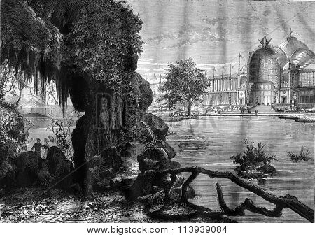 The Palace of the Champ de Mars, view from the cave, vintage engraved illustration. Magasin Pittoresque 1878.