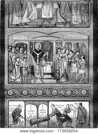 Murals of the underground church of St. Clement in Rome, vintage engraved illustration. Magasin Pittoresque 1878.