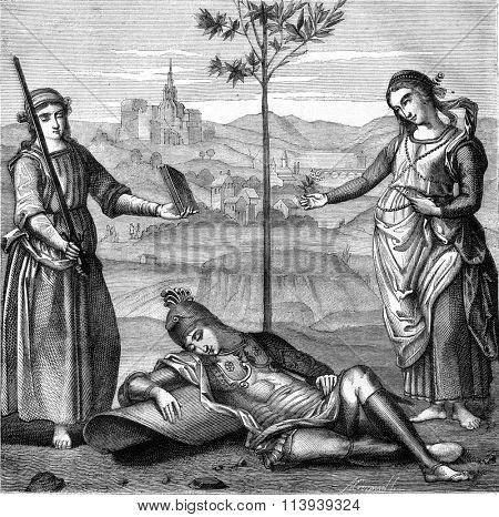 The Dream of the Knight by Raphael, at the National Gallery in London, vintage engraved illustration. Magasin Pittoresque 1877.