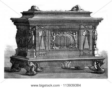Box of the guild of carpenters, Strasbourg seventeenth century, vintage engraved illustration. Magasin Pittoresque 1876.