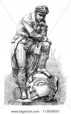 Champollion marble statue by Bartoldi, vintage engraved illustration. Magasin Pittoresque 1876.