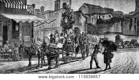 Departure for the feast of Montevergine in Naples, vintage engraved illustration. Magasin Pittoresque 1876.