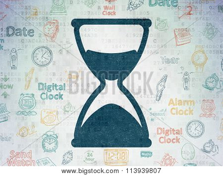 Time concept: Hourglass on Digital Paper background