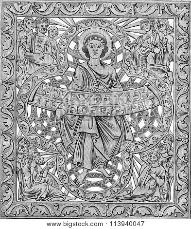 One of the eight Beatitudes of directly after a print from a blight of big chandelier of Aachen, Labour twelfth century, vintage engraved illustration. Magasin Pittoresque 1876.
