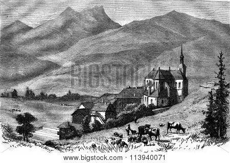 The Abbey of Abondance, Haute Savoie, vintage engraved illustration. Magasin Pittoresque 1876.