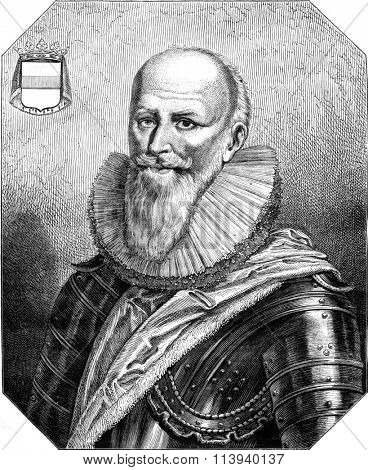 Maximilien de Bethune, Duke of Sully, vintage engraved illustration. Magasin Pittoresque 1876.