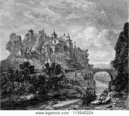 Vaison, View of the upper town, vintage engraved illustration. Magasin Pittoresque 1873.