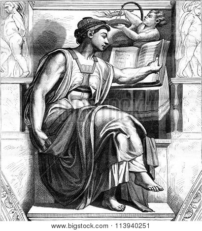 Michelangelo, his life and his works, the Table forty years, vintage engraved illustration. Magasin Pittoresque 1876.