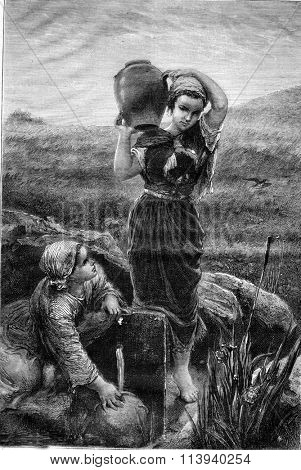 La Fontaine, painting by Jules Breton, vintage engraved illustration. Magasin Pittoresque 1876.