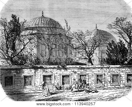 Tomb of Suleiman and Roxelana, in Constantinople, vintage engraved illustration. Magasin Pittoresque 1876.
