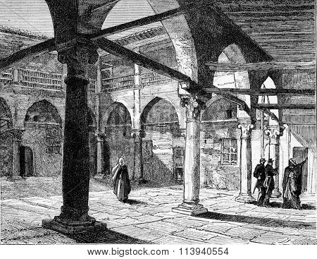 Former barracks of the Janissaries, in Constantine. Drawing Christol, vintage engraved illustration. Magasin Pittoresque 1873.