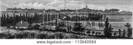 Phalsbourg, General view, vintage engraved illustration. Magasin Pittoresque 1873.