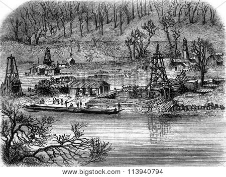 Oil extraction, Well Van Slyke Pennsylvania, vintage engraved illustration. Magasin Pittoresque 1870.