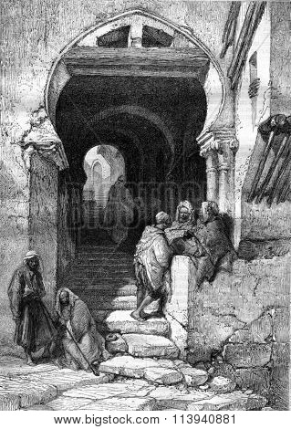 The Devil Street in Algiers, vintage engraved illustration. Magasin Pittoresque 1870.
