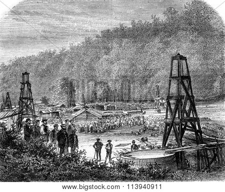 Oil extraction, Woodford wells and Philip, Pennsylvania, vintage engraved illustration. Magasin Pittoresque 1870.