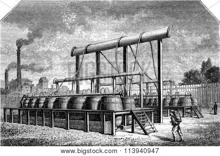 Battery for preparing pure hydrogen, vintage engraved illustration. Magasin Pittoresque 1870.