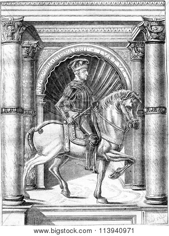 Jacques Attendolo Sforza, after the miniature of a manuscript department of the Imperial Library of manuscripts, vintage engraved illustration. Magasin Pittoresque 1870.