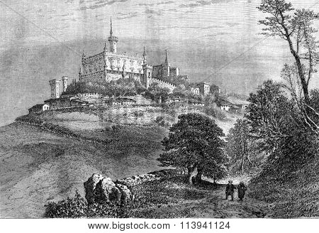 Manor and village Montmelas, vintage engraved illustration. Magasin Pittoresque 1870.